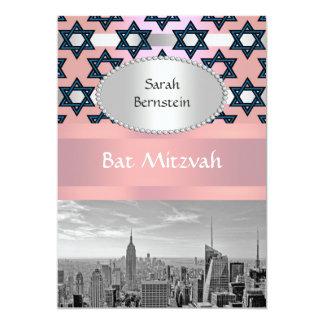 NYC Skyline Empire State Building Bat Mitzvah #1P 13 Cm X 18 Cm Invitation Card