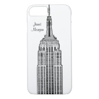 NYC Skyline - Empire State Building Etched look iPhone 7 Case