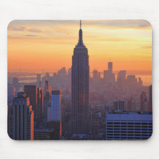 NYC Skyline: Empire State Building Orange Sunset Mouse Pad