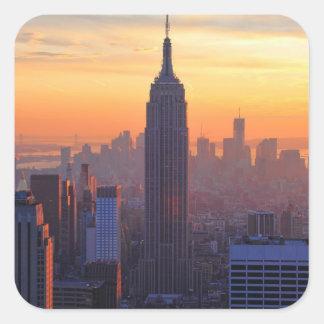 NYC Skyline: Empire State Building Orange Sunset Square Sticker