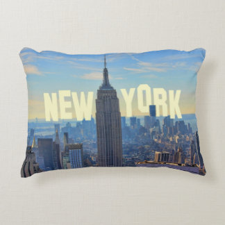 NYC Skyline Empire State Building, World Trade 2C Decorative Cushion