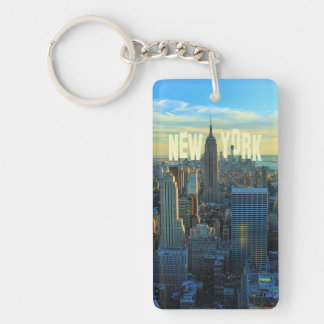 NYC Skyline Empire State Building, World Trade 2C Double-Sided Rectangular Acrylic Key Ring