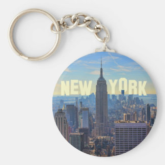 NYC Skyline Empire State Building, World Trade 2C Basic Round Button Key Ring