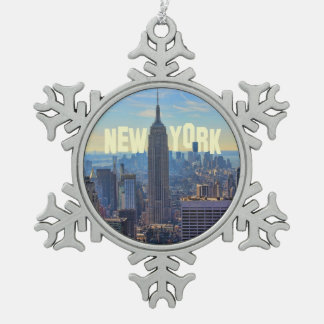 NYC Skyline Empire State Building, World Trade 2C Pewter Snowflake Decoration