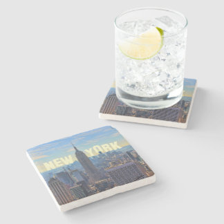 NYC Skyline Empire State Building, World Trade 2C Stone Coaster