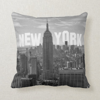 NYC Skyline Empire State Building World Trade 2CBW Cushion