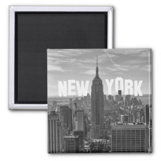 NYC Skyline Empire State Building, WTC BW 2C Square Magnet