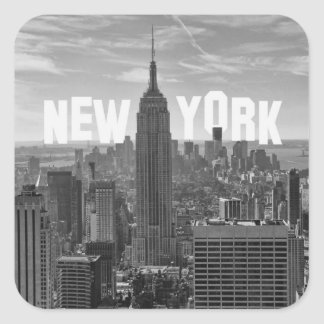 NYC Skyline Empire State Building, WTC BW 2C Square Sticker