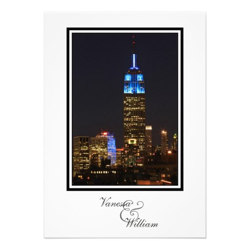 NYC Skyline ESB, 30 Rock in Blue Wedding Personalized Invitations