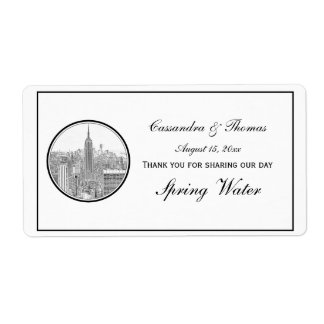 NYC Skyline ESB Round Etched 01 H Water Bottle Shipping Label