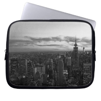 NYC Skyline, ESB WTC at Sunset BW Computer Sleeve