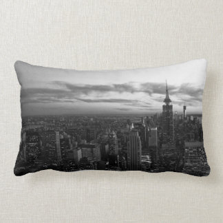 NYC Skyline, ESB WTC at Sunset BW Lumbar Pillow