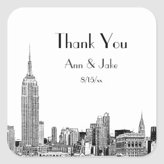 NYC Skyline Etched 01  Favor Tag Thank You