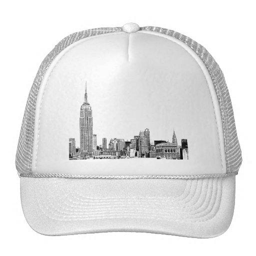 NYC Skyline Etched 01 Trucker Hat