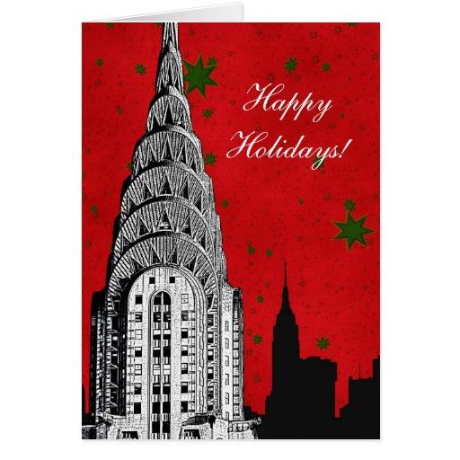 NYC Skyline Etched Chrysler Bldg Christmas Holiday Card