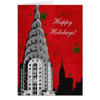 NYC Skyline Etched Chrysler Bldg Christmas Holiday Greeting Card