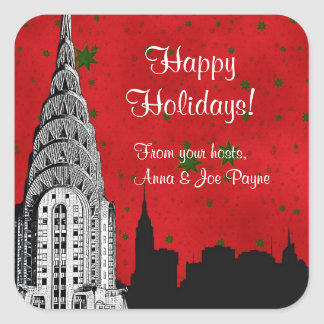 NYC Skyline Etched Chrysler Christmas Holiday Tag