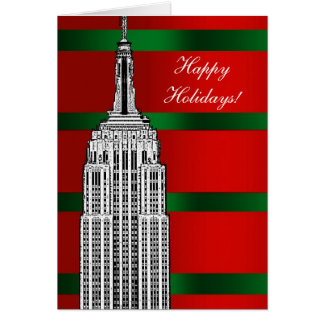 NYC Skyline Etched Empire State Bldg Christmas 2 Card