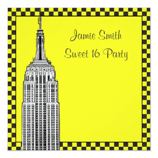 NYC Skyline Etched ESB Checkered Taxi 2 Sweet 16 Card