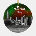 NYC Skyline Etched ESB Red and Green Starry Xmas