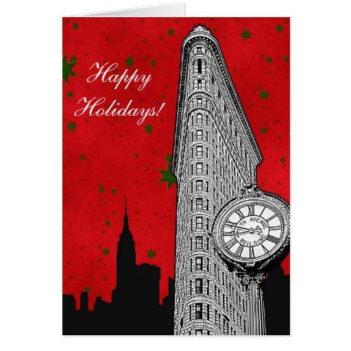 NYC Skyline Etched Flatiron 2 Christmas Holiday Cards