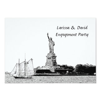 NYC Skyline Etched St of Liberty Engagement Party Card