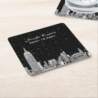 NYC Skyline Etched Starry DIY BG Color SQ Coasters