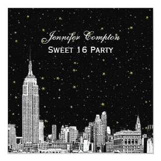 NYC Skyline Etched Starry DIY BG Color SQ Sweet 16 13 Cm X 13 Cm Square Invitation Card
