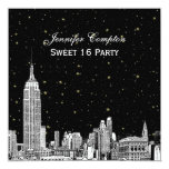 NYC Skyline Etched Starry DIY BG Colour SQ Sweet 13 Cm X 13 Cm Square Invitation Card