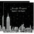 NYC Skyline Etched Starry DIY BG Colour SQ Sweet Card