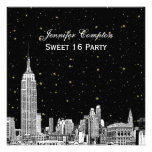 NYC Skyline Etched Starry DIY BG Colour SQ Sweet Personalized Announcements