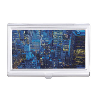 NYC Skyline, high angle view at dusk Business Card Holder