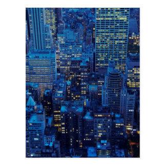 NYC Skyline, high angle view at dusk Postcard