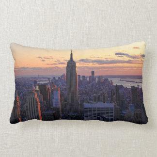 NYC Skyline just before sunset Lumbar Cushion