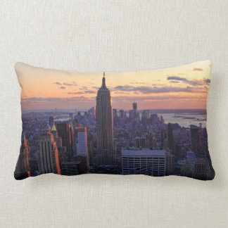 NYC Skyline just before sunset Lumbar Pillow