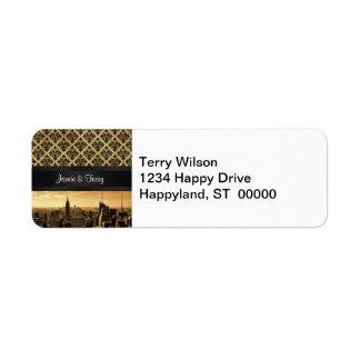 NYC Skyline Sepia B5 Blk Rib Damask Return Address Return Address Label