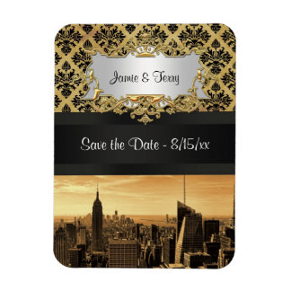 NYC Skyline Sepia B5 Blk Rib Damask Save the Date Magnet