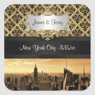 NYC Skyline Sepia B5 Blk Rib Damask Stickers