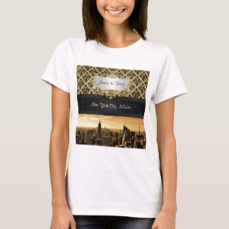 NYC Skyline Sepia Blk Rib Damask Spaghetti Strap T-Shirt
