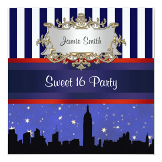 NYC Skyline Sil Blue Sky2 Blue Wht Stripe Sweet 16 Card