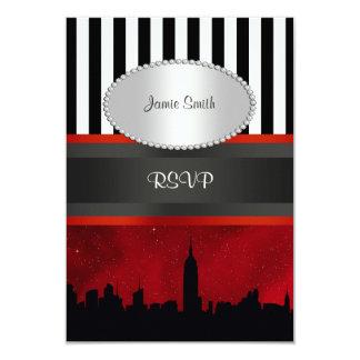 NYC Skyline Sil Red Sky Blk Wht Stripe P RSVP 9 Cm X 13 Cm Invitation Card