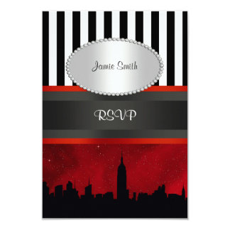 NYC Skyline Sil Red Sky Blk Wht Stripe P RSVP Card