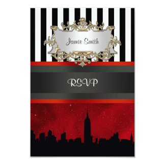 NYC Skyline Sil Red Sky Blk Wht Stripe RSVP 9 Cm X 13 Cm Invitation Card