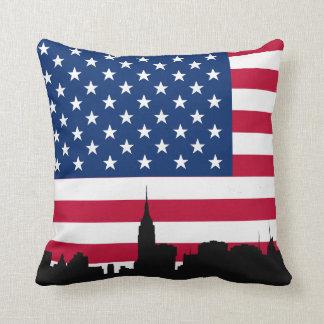 NYC Skyline Silhouette, American Flag Throw Pillow
