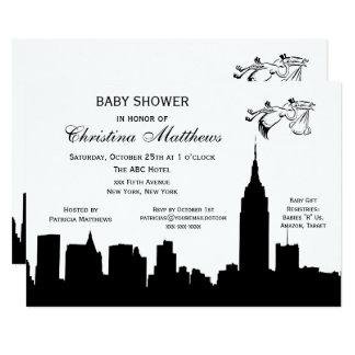 NYC Skyline Silhouette Baby Shower Stork Card