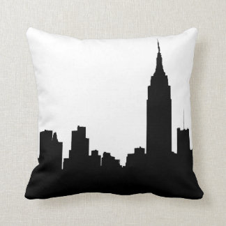 NYC Skyline Silhouette, Empire State Bldg #1 Cushion