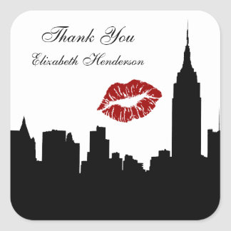 NYC Skyline Silhouette, Empire State Bldg #1 Kiss Square Sticker