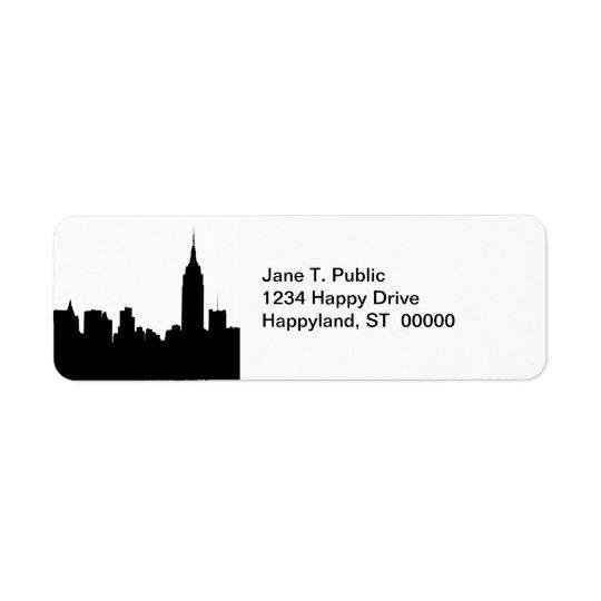 NYC Skyline Silhouette, Empire State Bldg #1 Return Address Label