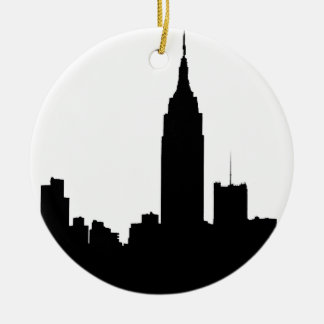 NYC Skyline Silhouette, Empire State Bldg #1 Round Ceramic Decoration