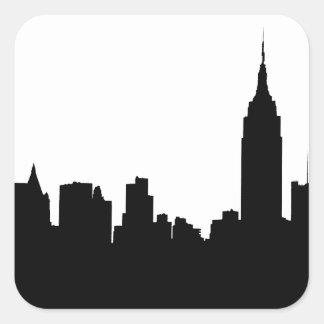 NYC Skyline Silhouette, Empire State Bldg #1 Square Sticker